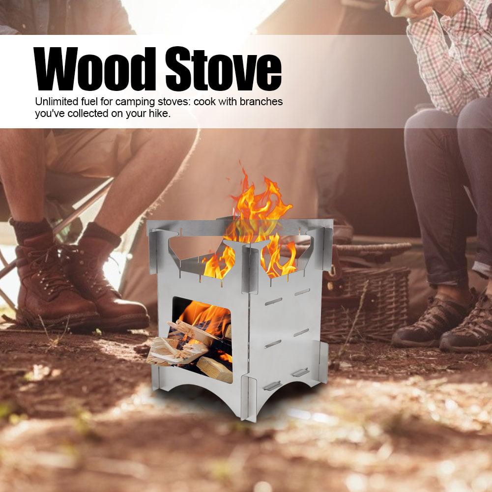 Folding Wood Burning Camp Stove Stainless Steel Mini Wood Burning Camp Stove