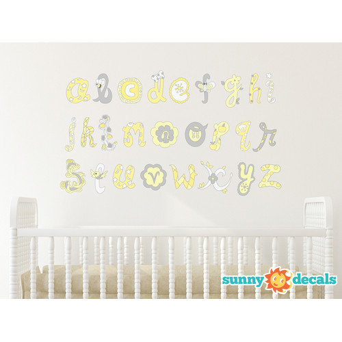 Sunny Decals Script Alphabet Fabric Wall Decal
