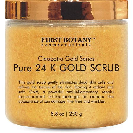 The BEST 24K Gold Scrub for Face and Body 8.8 oz reduces the appearance of Sun Damage, Fine Lines and Wrinkles- Powerful Body Scrub Exfoliator and Daily Moisturizer For All Skin (Best Washing Line Prop)