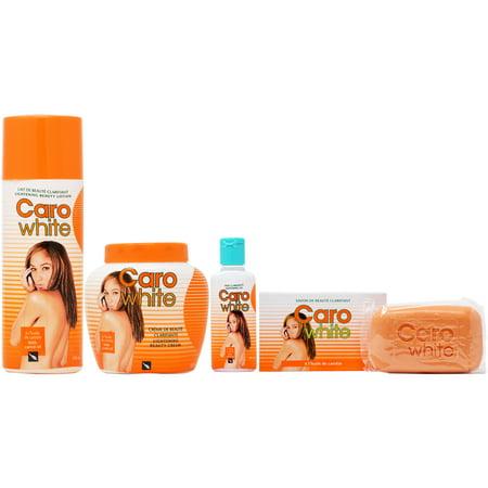 Caro White Set-1 (Lotion + Cream 16.9oz + Oil 1.7oz + Soap 6.3oz) 1000ml Mild Lotion Soap