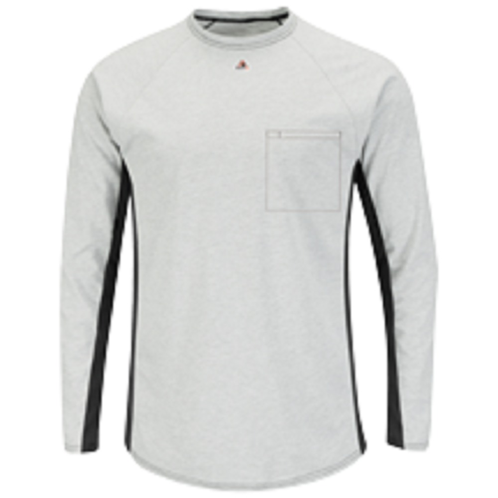 Bulwark FR Grey Long Sleeve Two-Tone Base Layer with Concealed Chest Pocket