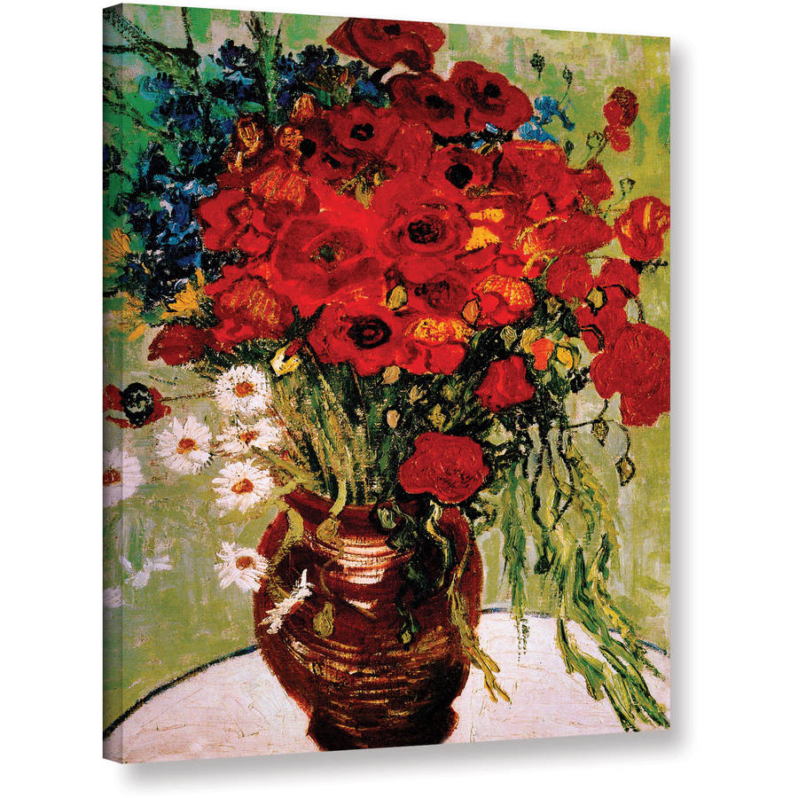 """Vangogh """"Dasies And Poppies"""" Wrapped Canvas"""