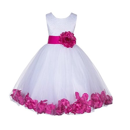 Ekidsbridal Ivory Lace Top Tulle Bodice Floral Petals Flower Girl Dresses Formal Special Occasions Dresses Wedding Pageant Recital Reception Ceremony Graduation Birthday Girl Party Ball Gown - Graduation Ceremony Ideas
