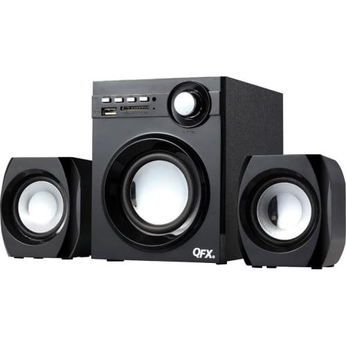QFX BT-203 QFX BT-203 2.1 Speaker System - 10 W RMS - Bookshelf - Wireless Speaker(s) - Black - Surround Sound - SD - Bluetooth - USB - Near Field Communication (NFC), FM Radio