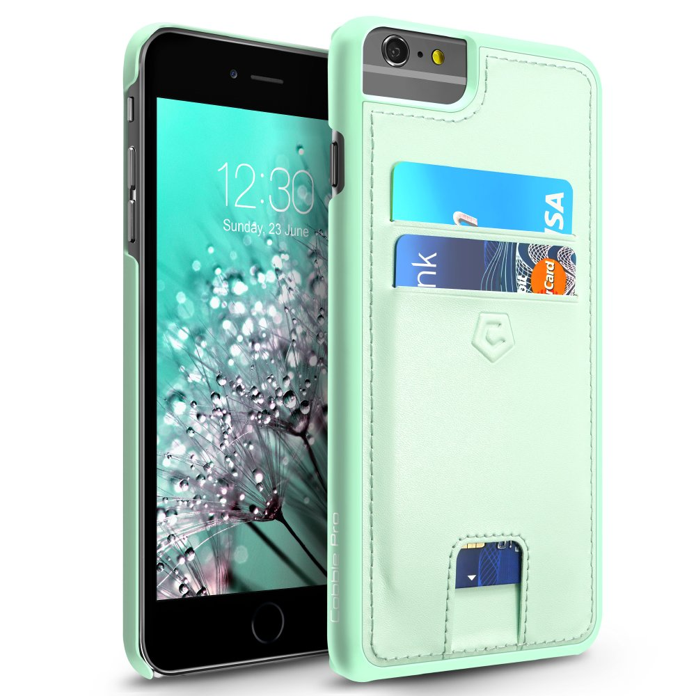 Cobble Pro Mint Green Rear Leather Case with Card Slot (w/ 4-Corners Raised Lip Protection) for iPhone 6s Plus / 6 Plus