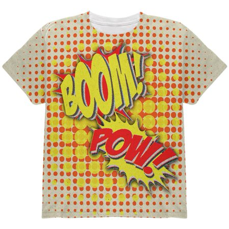 Halloween Boom Pow Vintage Comic Book Costume All Over Youth T Shirt - Vintage Inspired Halloween Decor