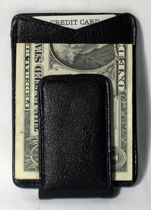 Black New In Box Leather Money Clip with Magnetic Clasp And Credit Card Holder