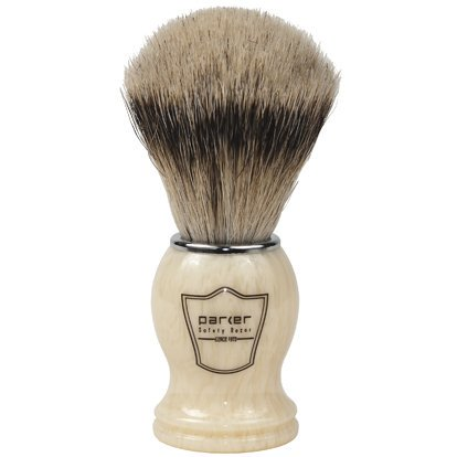 Parker Safety Razor 100% Silvertip Badger Bristle Shaving Brush (Ivory Handle) & Free Shaving Brush
