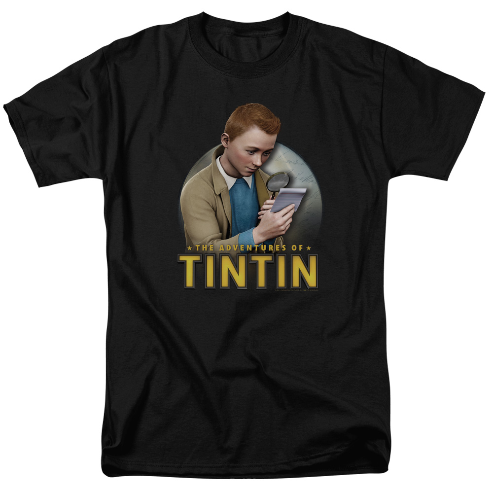 The Adventures of Tintin Looking For Answers Mens Short Sleeve Shirt