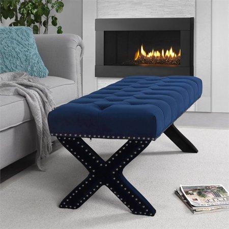 Kennedy Navy Blue Velvet Tufted Bench - Silver Nailhead Legs - Modern ()