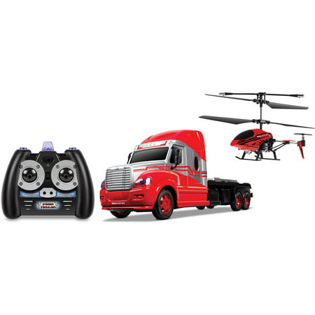 Hauler Truck - World Tech Toys 3.5CH Mega Hauler Helicopter & Truck Combo(Color may vary)