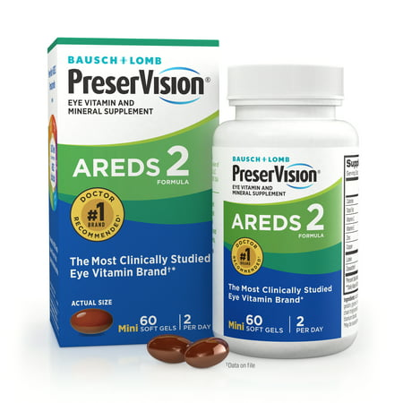 PreserVision® AREDS 2 Formula + Multivitamin, Eye Vitamin and Mineral Supplement with Lutein & Zeaxanthin–From Bausch + Lomb, 60 Soft Gels (MiniGels)