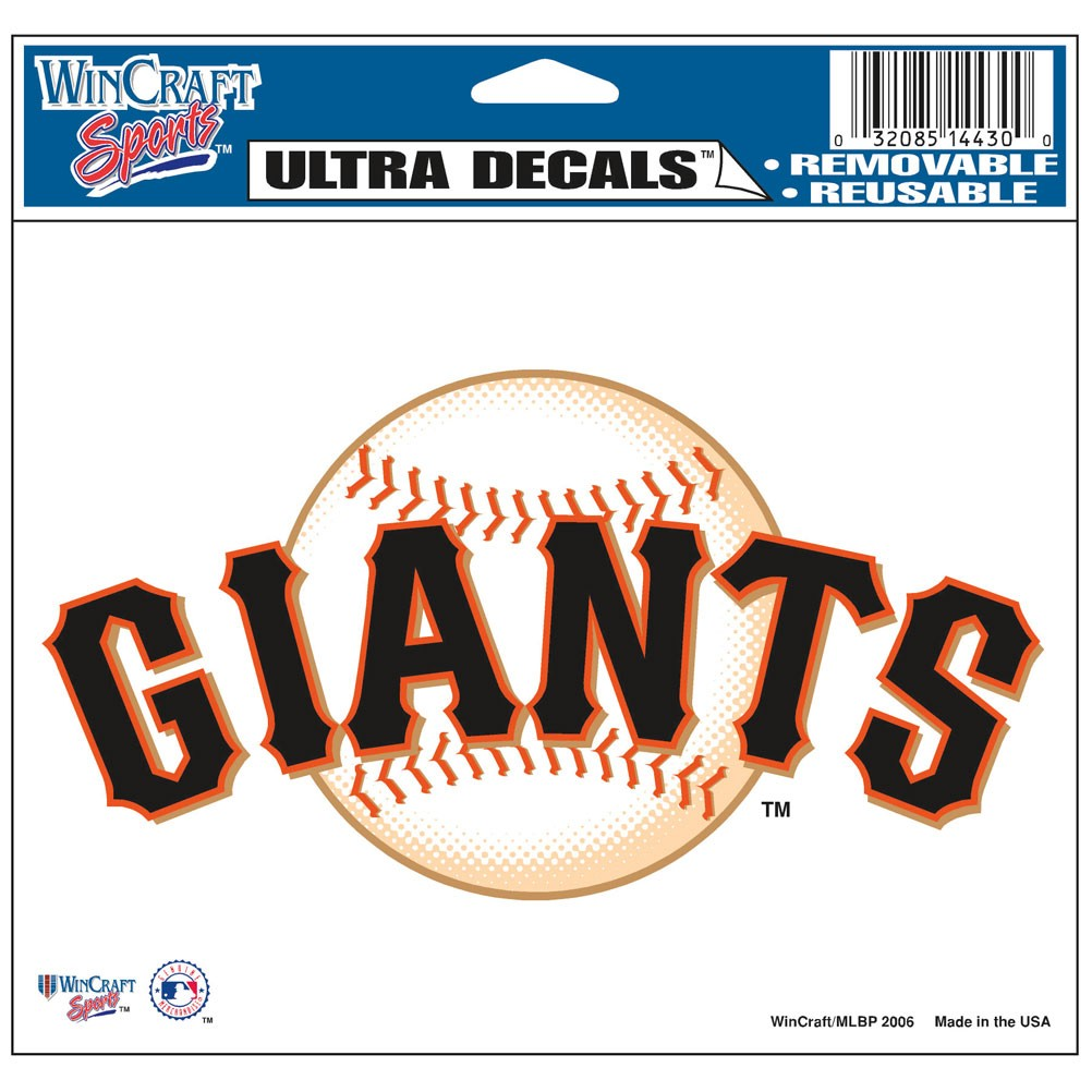 San Francisco Giants Official MLB 4 inch x 6 inch  Car Window Cling Decal by Wincraft