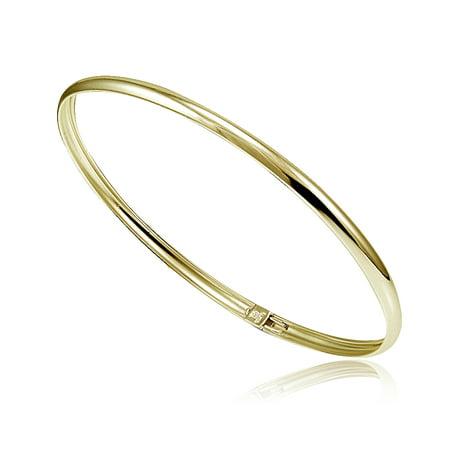 Gold Tone over Sterling Silver Polished Flex Bangle Bracelet