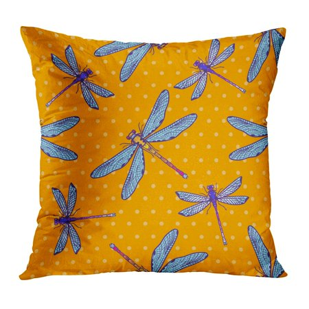 BOSDECO Dragonfly Dragonflies for Girls Boys Creative Insect Funny and Colorful Bright Vintage Abstract Beautiful Pillow Case Pillow Cover 20x20 inch - image 1 de 1