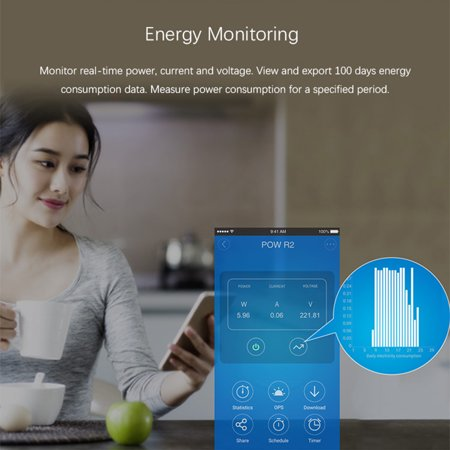 WiFi Intelligent Switch Pow ITEAD With Electricity Detection Statistics Current and Voltage Display Overload Protection Compatible with -Home/Nest & - Voice Control - image 7 of 7