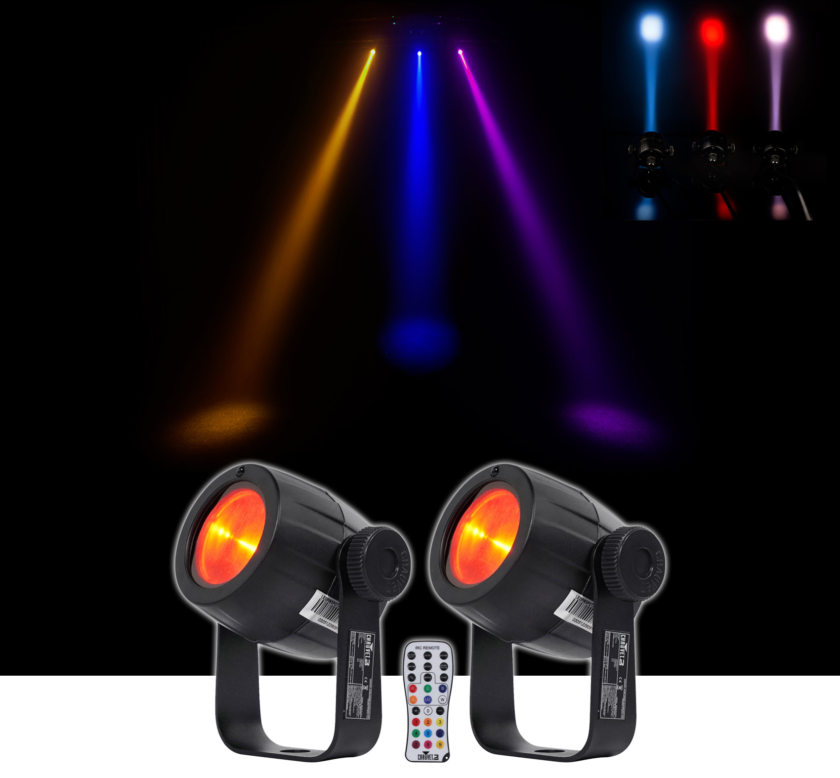 2) Chauvet DJ LED Pinspot 3 Club Mirror Ball Spot Light w Dimmer+Gel Pack+Remote by CHAUVET
