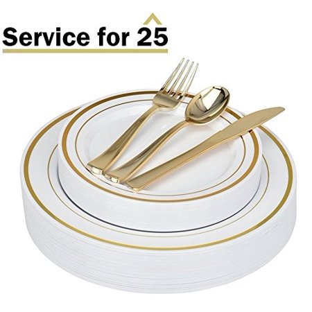 Stock Your Home Elegant 125 Piece Gold Rim Plastic Place Setting Set with Gold Silverware - Solid, Disposable & Heavy-duty Includes: 25 Dinner Plates, 25 Dessert Plates, 25 Forks, 25 (Cream Dinner Flatware)