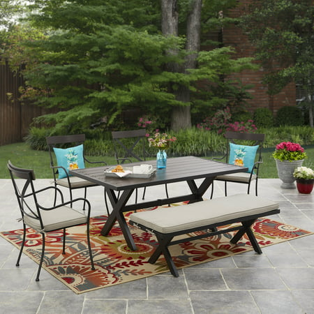 Mainstays Pamona 6 Piece Outdoor Patio Dining Set Walmart Com