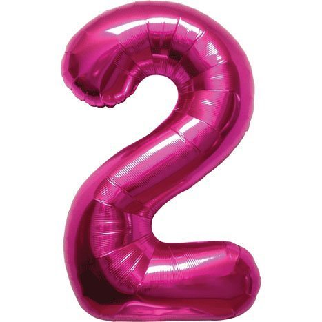 Number 2 - Magenta Helium Foil Balloon - 34 inch