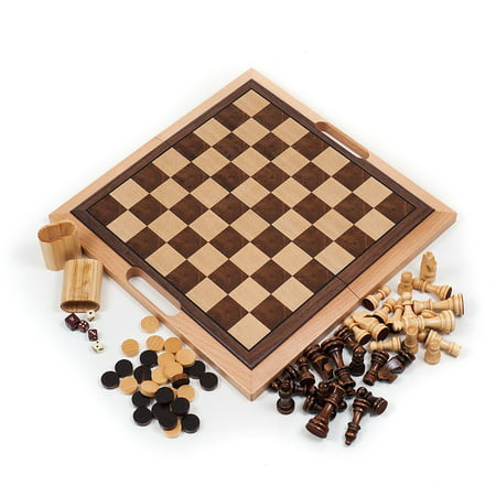 Deluxe Wooden Chess, Checker and Backgammon Set, Brown Deluxe Wooden Chess Set