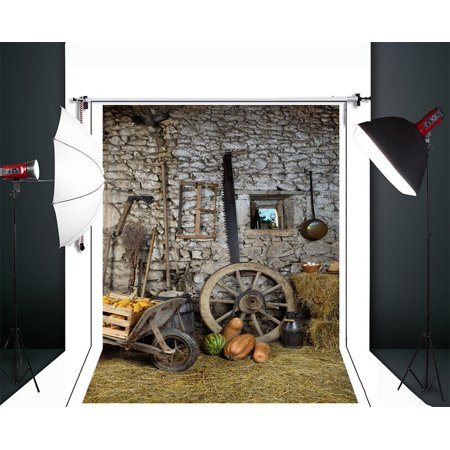 HelloDecor Polyster 5x7ft Retro Halloween Firewood House Farm Theme Photography Backdrops Indoor Studio Backgrounds Photo Props](Cute Halloween Themed Backgrounds)