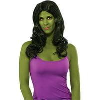Deluxe Adult Womens Black She Hulk Secret Wishes Wig