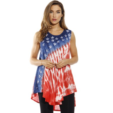 afa0d0cdbfc491 Riviera Sun American Flag Top / Tops for Women (3X, American Flag 3) -  Walmart.com