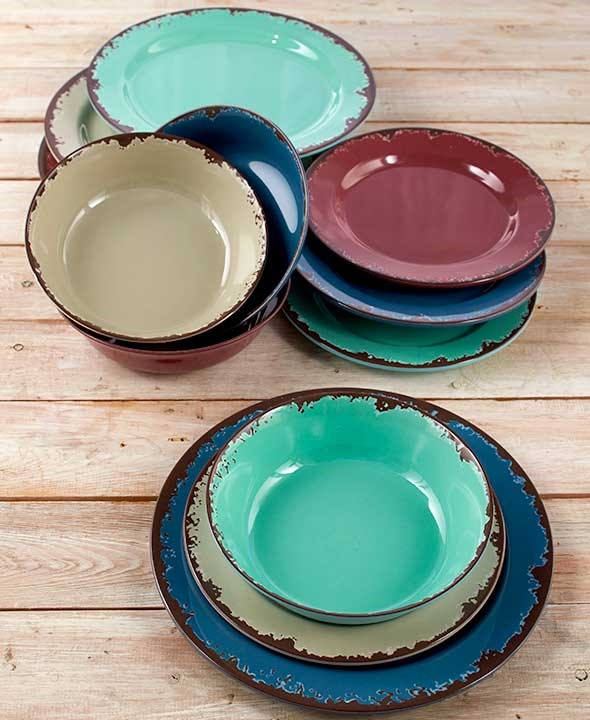 Farmhouse Solid Melamine Country 12 Pc Dinnerware Set or 3 Pc Bowl Set 2 Colors