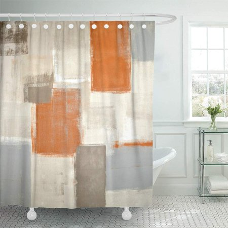 PKNMT Gray Contemporary Beige and Orange Abstract Painting White Acrylic Blocks Gallery Bathroom Shower Curtain 66x72 inch (Orange Curtains For Bathroom)