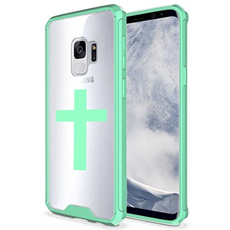 For Samsung Galaxy Clear Shockproof Bumper Case Hard Cover Cross Christian (Mint For Samsung Galaxy S9+ (Plus))