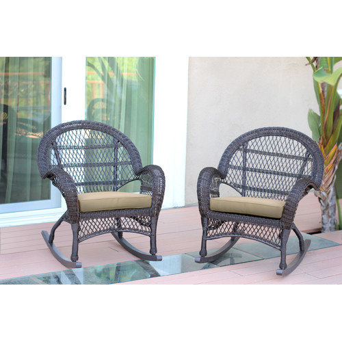 Jeco Inc. Wicker Rocker Chair with Cushions (Set of 2)