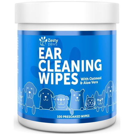 Grooming Wipes - Zesty Paws Ear Cleaning Grooming Wipes with Aloe Vera for Dogs, 100 Presoaked Wipes