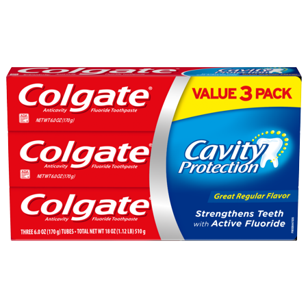 - Colgate Cavity Protection Toothpaste with Fluoride, Great Regular Flavor - 6 Ounce, 3 pack