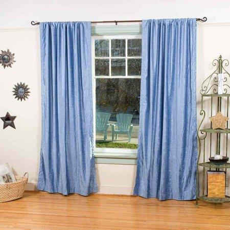 Cleveland Indians Window - Light Blue Rod Pocket  Velvet Curtain / Drape / Panel  - Piece