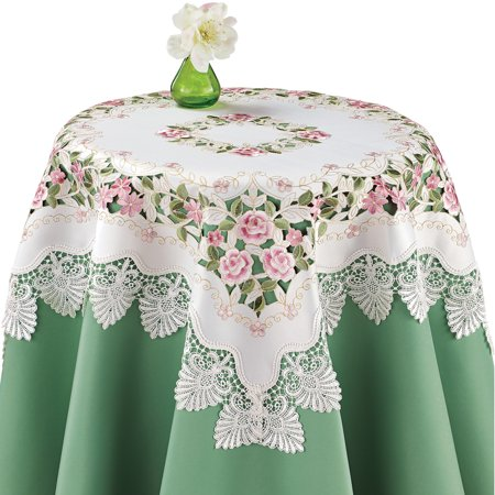 Embroidered Lovely Roses and Greenery Lace Cutout Table Linens - Spring Decor and Tabletop Accent, Square