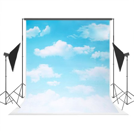 GreenDecor Polyster 5x7ft Photoraphy Backdrop White Cloud Blue Sky Party Decoration - Sky Clouds Background