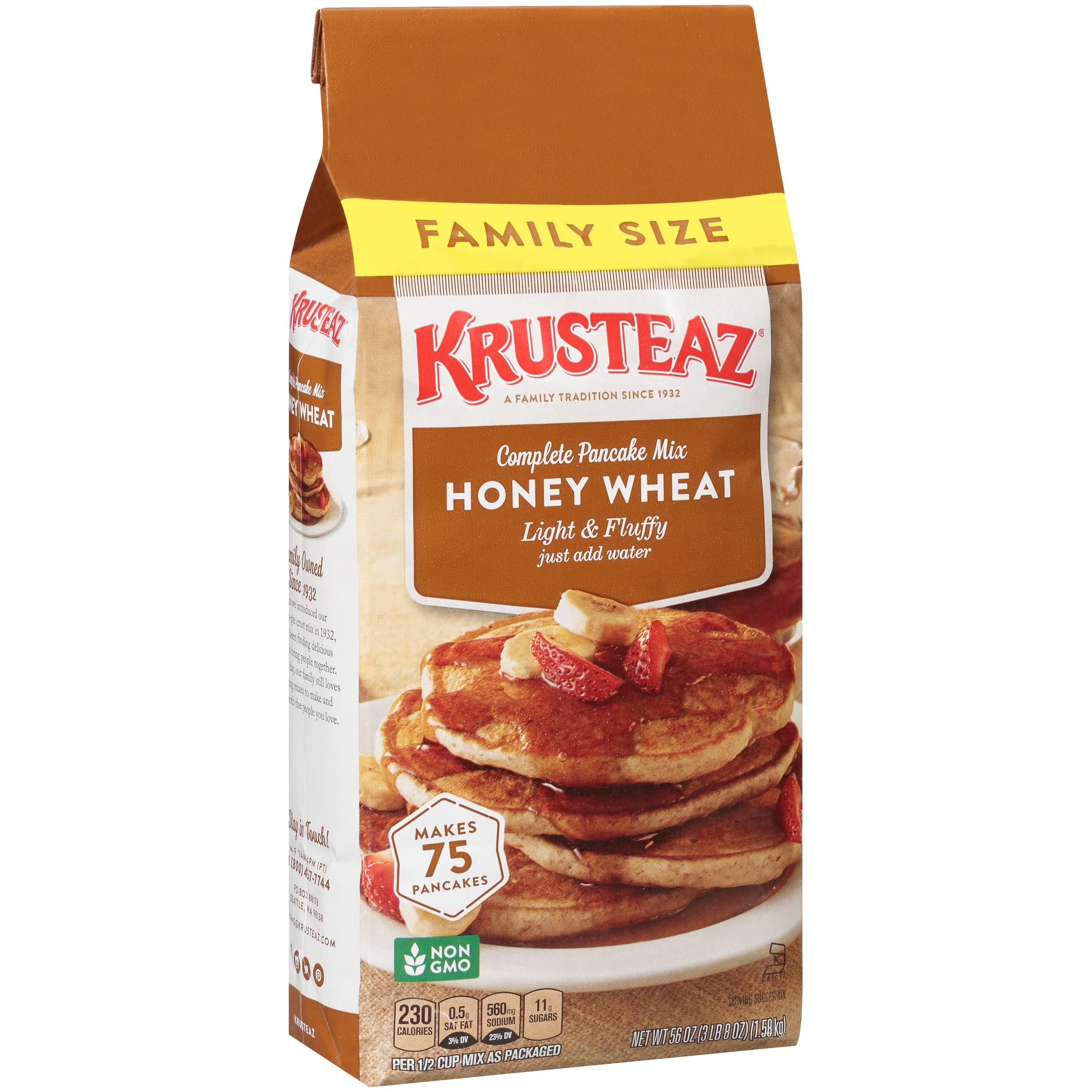 (2 pack) Krusteaz Light & Fluffy Honey Wheat Complete Pancake Mix, 56 oz. Bag