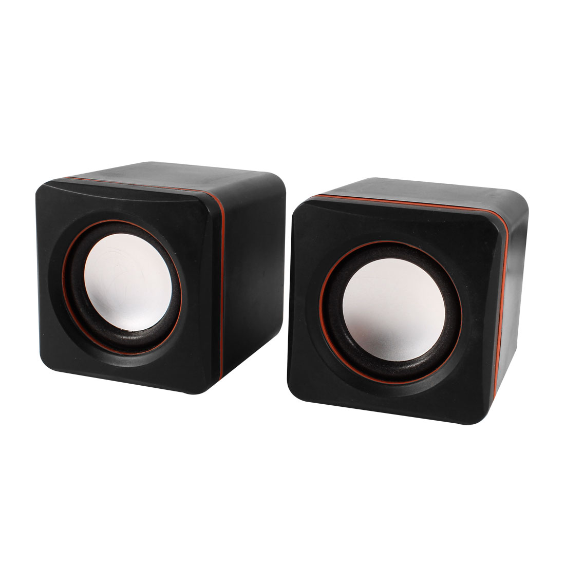 Black Volume Control 2.0 Channel USB  Cube Speaker Stereo Sound Box Pair