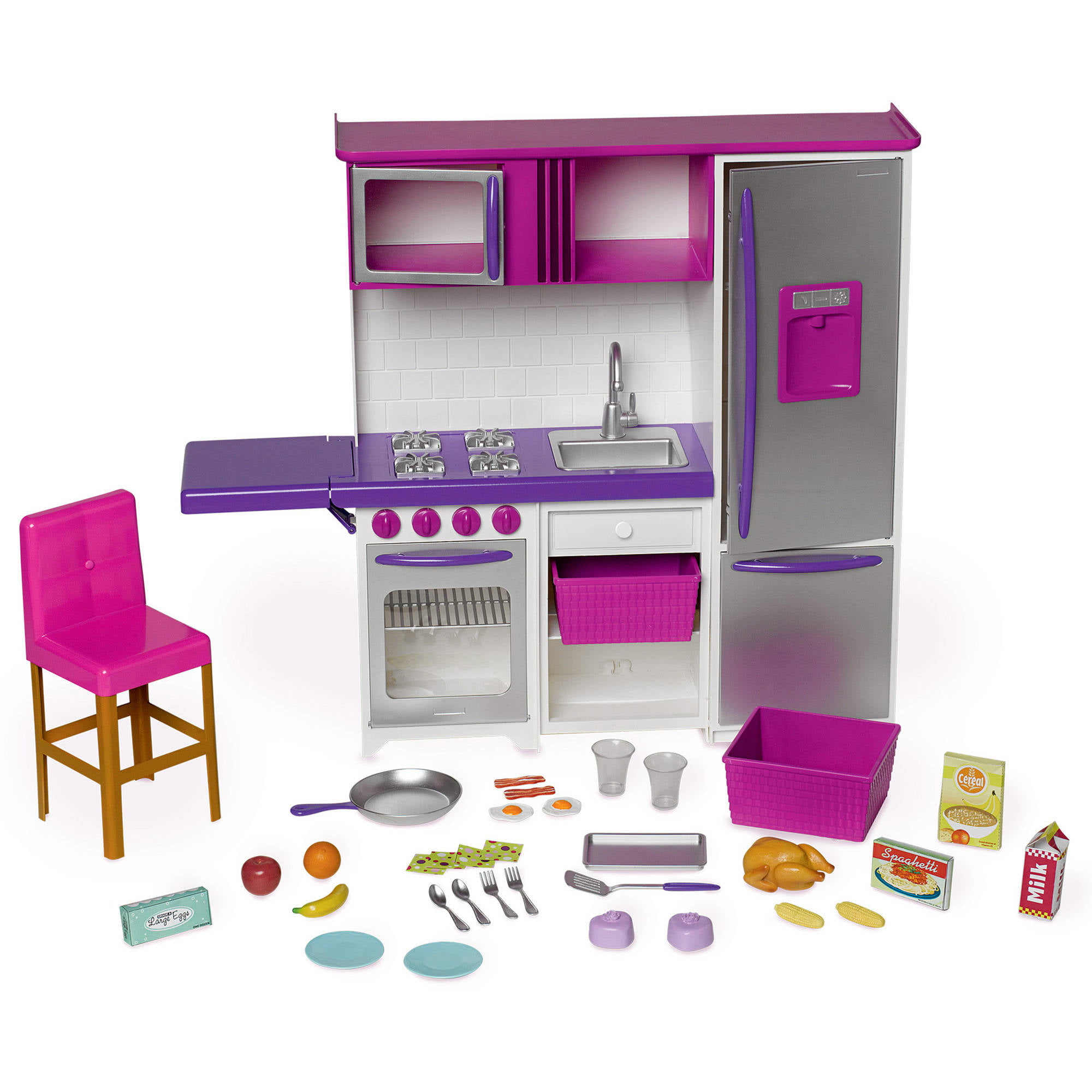 Kitchen Accessories Walmart: My Life As Doll Kitchenette With Large Refrigerator