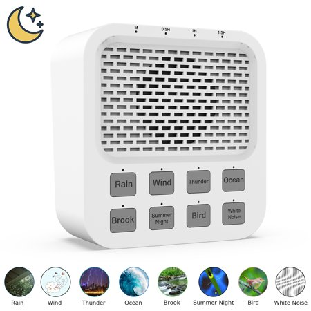White Noise Sound Machine w/ 8 Natural Soothing Sounds, Rechargeable Bluetooth Speaker Auto-Off Timer, Noise Cancelling Sleeping Relaxation Sleep Sound Therapy Machine - Naptime Baby Adult Home
