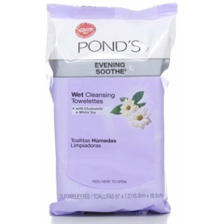Pond's Wet Cleansing Towelettes, Evening Soothe, 30 ea (Pack of 6)