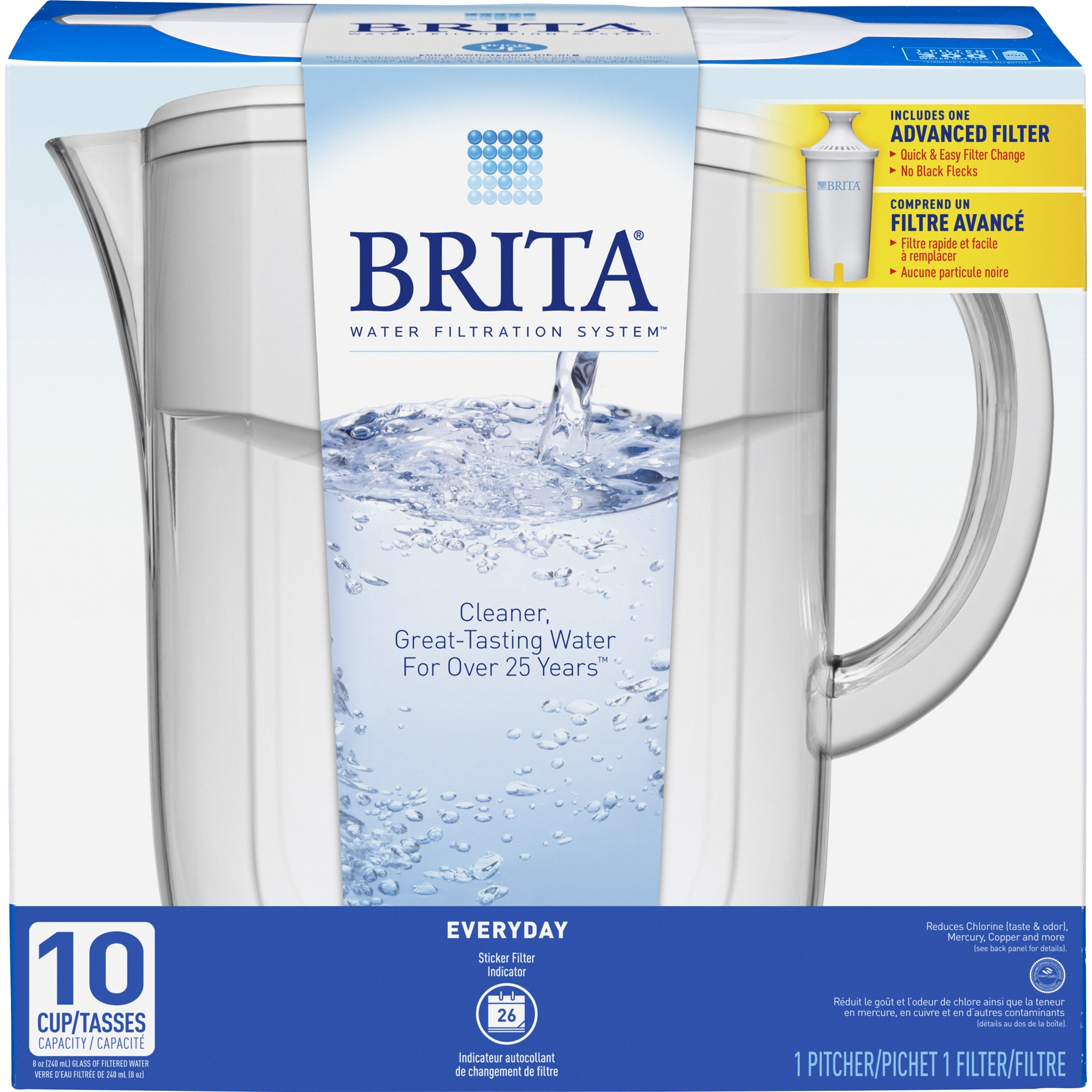 brita 10 cup everyday bpa free water pitcher with 1 filter white walmartcom - Water Filter