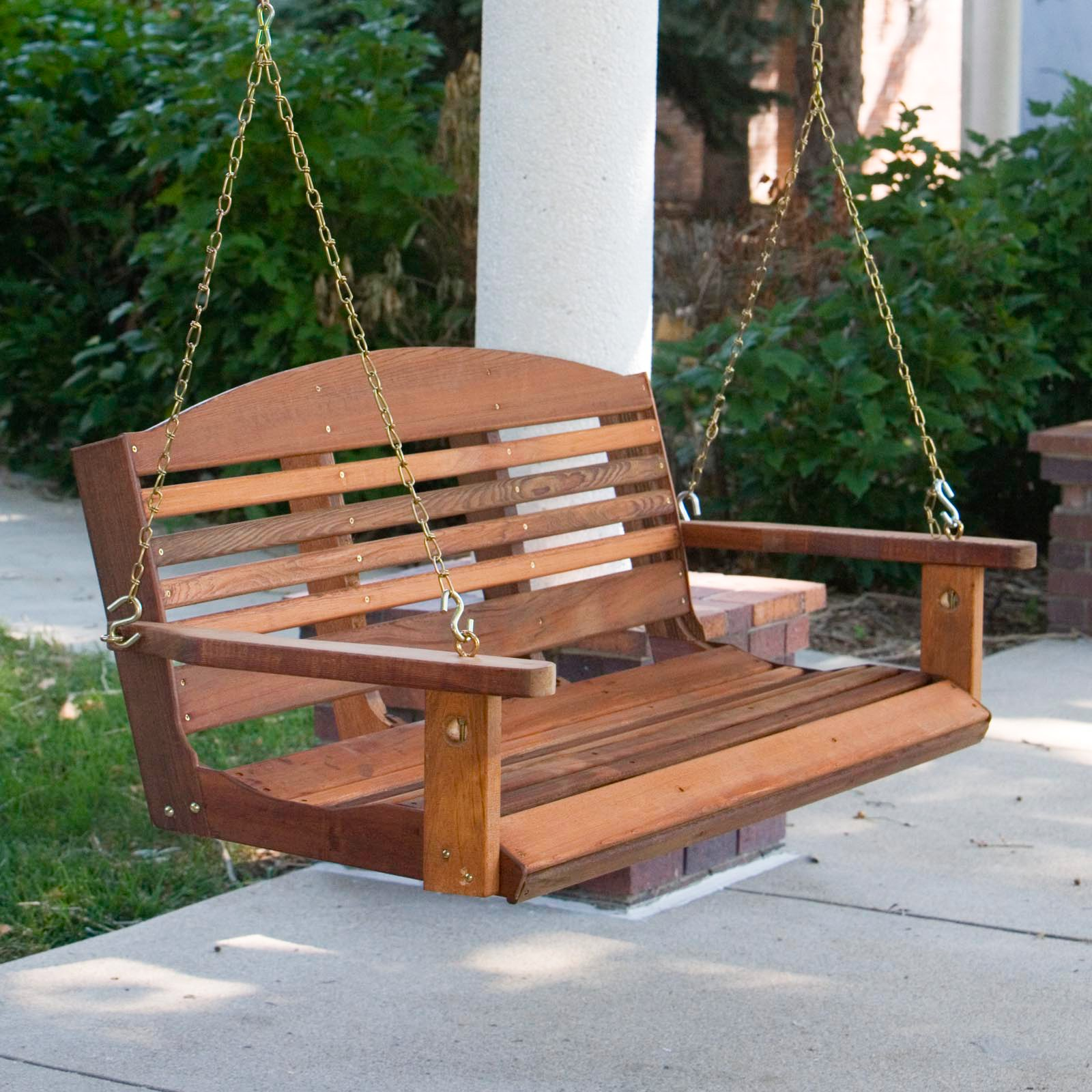 A U0026amp; L Furniture Western Red Cedar Classic Curved Back Porch Swing    Walmart.com