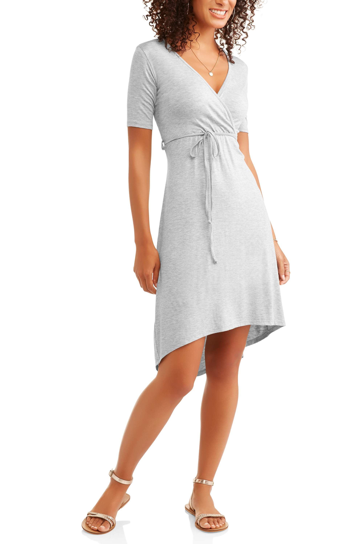 Shira Pearla Women's Wrap Front Hi-Low Midi Dress