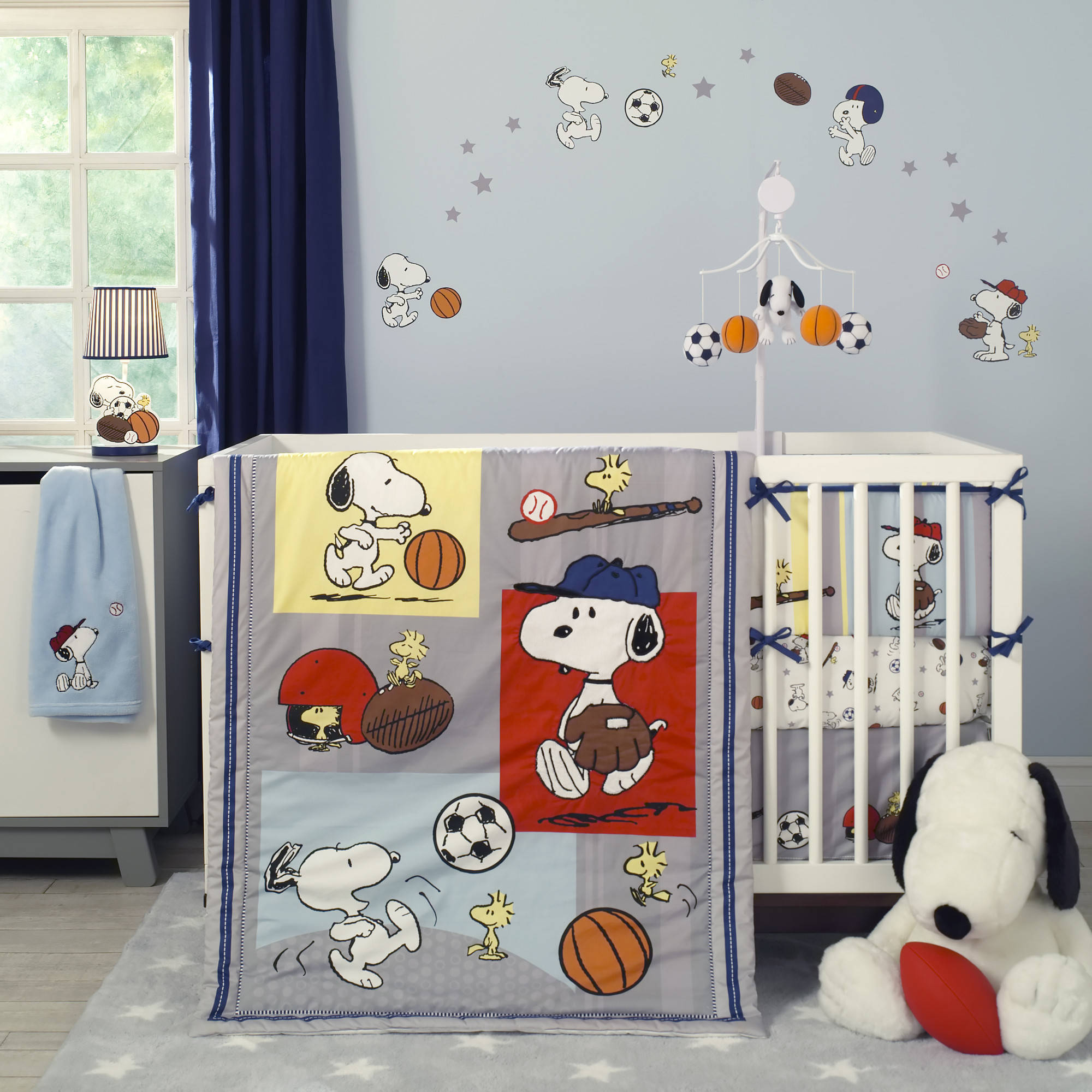 Bedtime Originals Snoopy Sports 3 Piece Crib Bedding Set