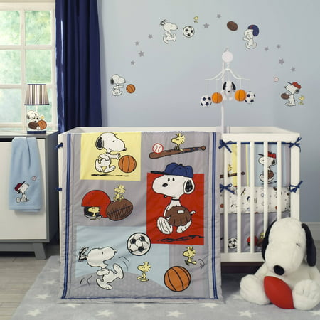 Celestial Baby Bedding - Bedtime Originals Snoopy Sports 3-Piece Crib Bedding Set