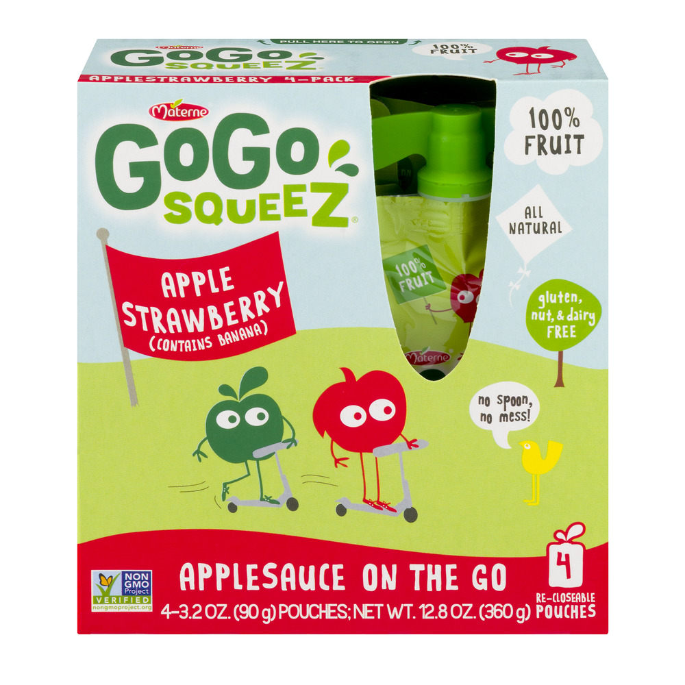 Materne GoGo Squeez Applesauce On The Go Apple Strawberry - 4 CT