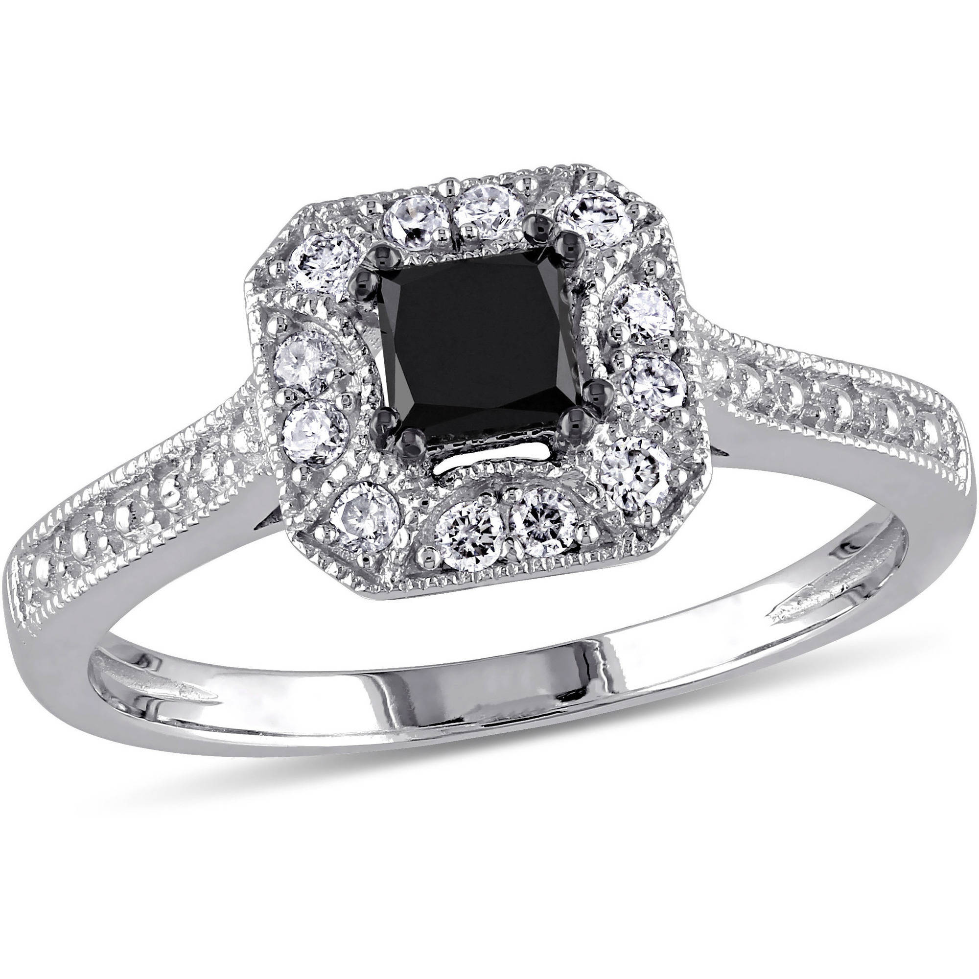 3/5 Carat T.W. Princess and Round-Cut Black and White Diamond 10kt White Gold Engagement Ring