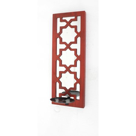 "6.25"" X 17.5"" X 5.25"" Red Traditional Wooden Cross Candle Holder Sconce"